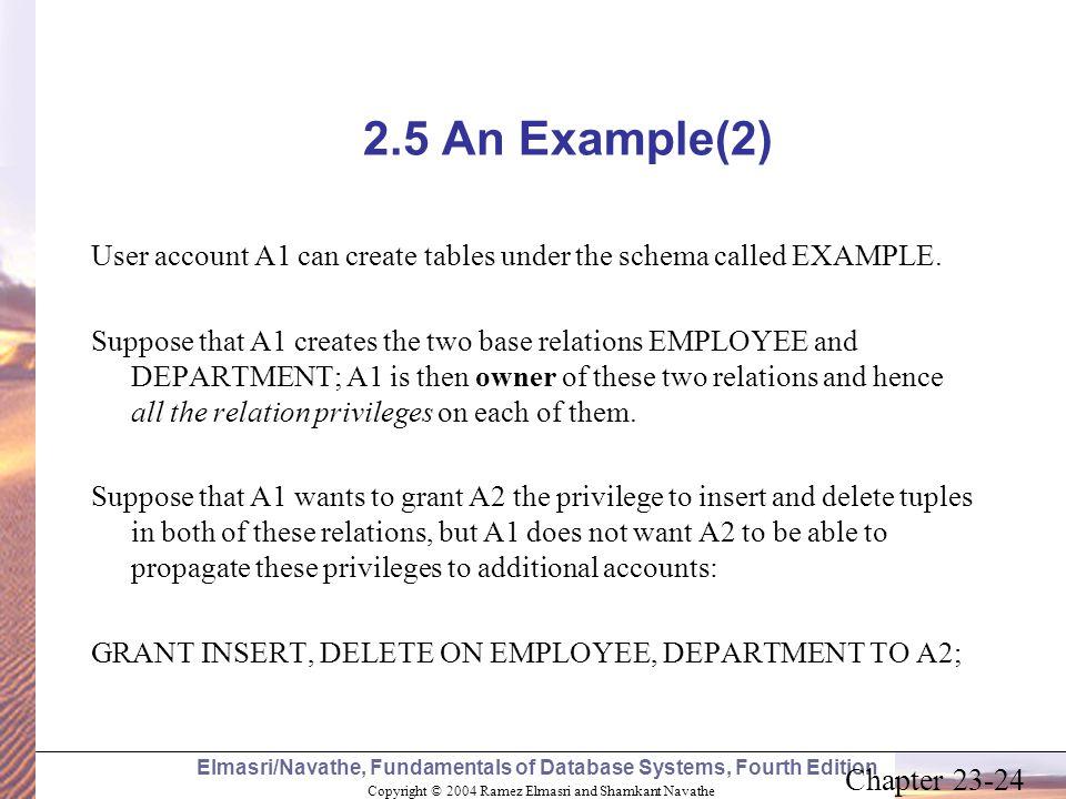 Copyright © 2004 Ramez Elmasri and Shamkant Navathe Elmasri/Navathe, Fundamentals of Database Systems, Fourth Edition Chapter 23-24 2.5 An Example(2)