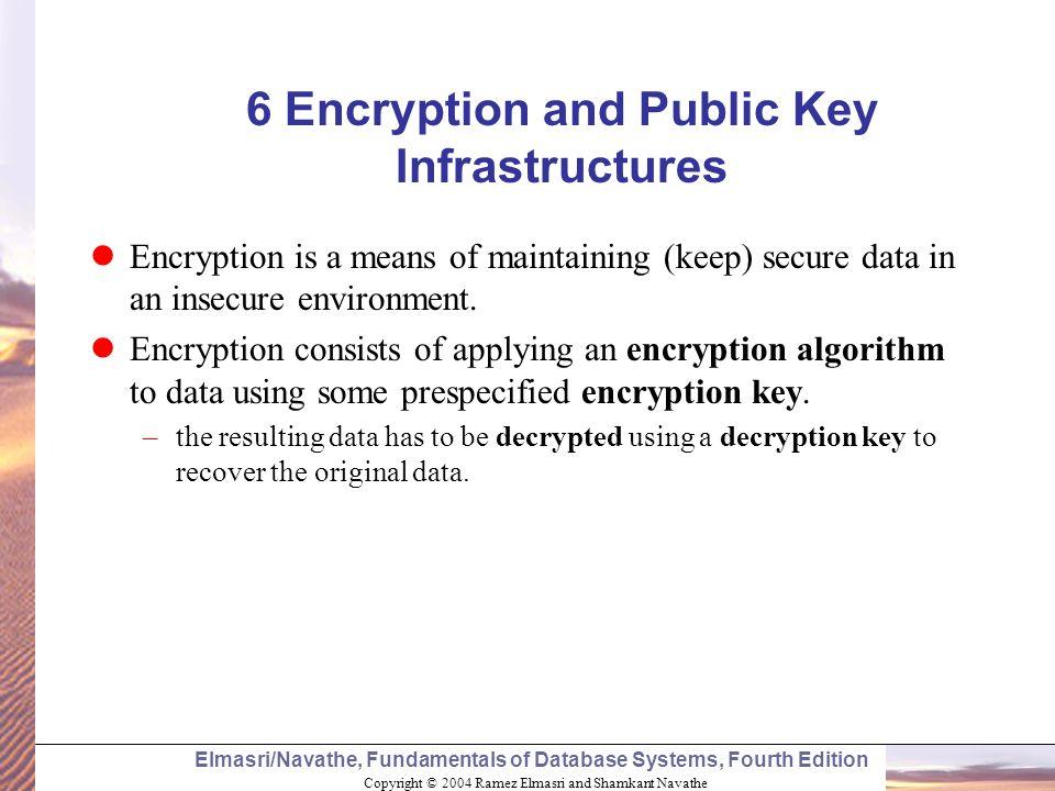 Copyright © 2004 Ramez Elmasri and Shamkant Navathe Elmasri/Navathe, Fundamentals of Database Systems, Fourth Edition 6 Encryption and Public Key Infr