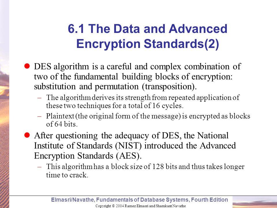 Copyright © 2004 Ramez Elmasri and Shamkant Navathe Elmasri/Navathe, Fundamentals of Database Systems, Fourth Edition 6.1 The Data and Advanced Encryp