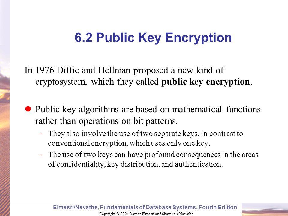 Copyright © 2004 Ramez Elmasri and Shamkant Navathe Elmasri/Navathe, Fundamentals of Database Systems, Fourth Edition 6.2 Public Key Encryption In 197