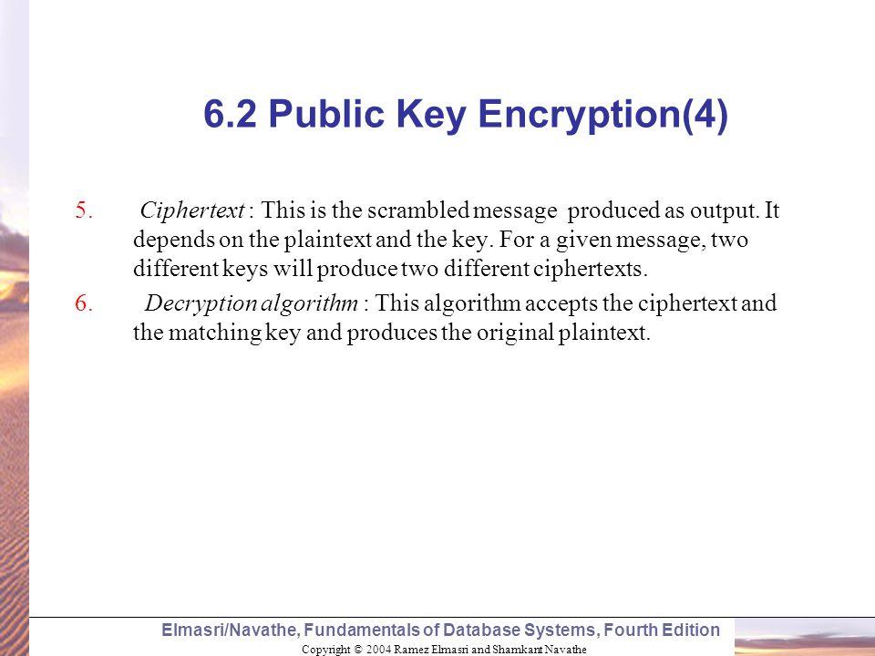 Copyright © 2004 Ramez Elmasri and Shamkant Navathe Elmasri/Navathe, Fundamentals of Database Systems, Fourth Edition 6.2 Public Key Encryption(4) 5.