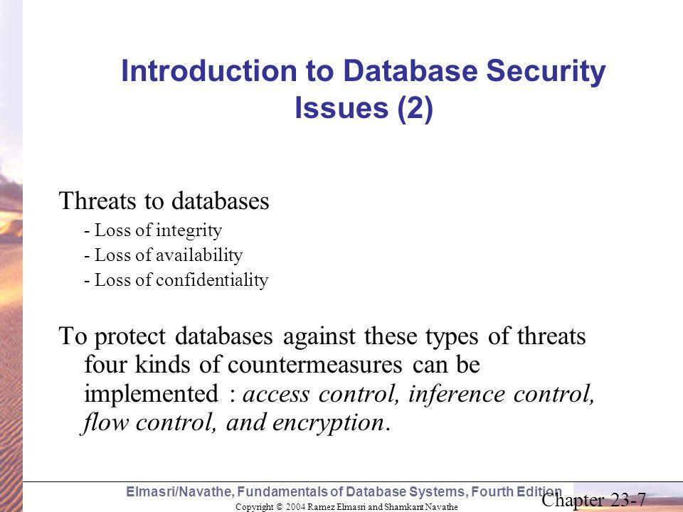 Copyright © 2004 Ramez Elmasri and Shamkant Navathe Elmasri/Navathe, Fundamentals of Database Systems, Fourth Edition Chapter 23-7 Introduction to Dat