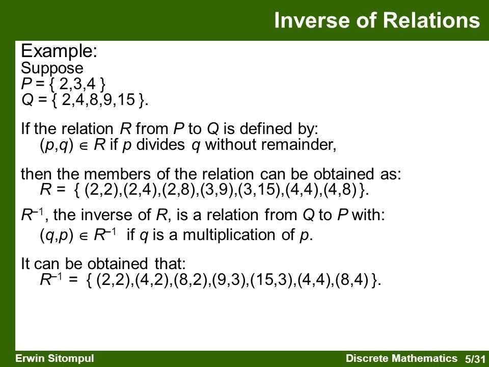 5/31 Erwin SitompulDiscrete Mathematics Example: Suppose P = { 2,3,4 } Q = { 2,4,8,9,15 }.