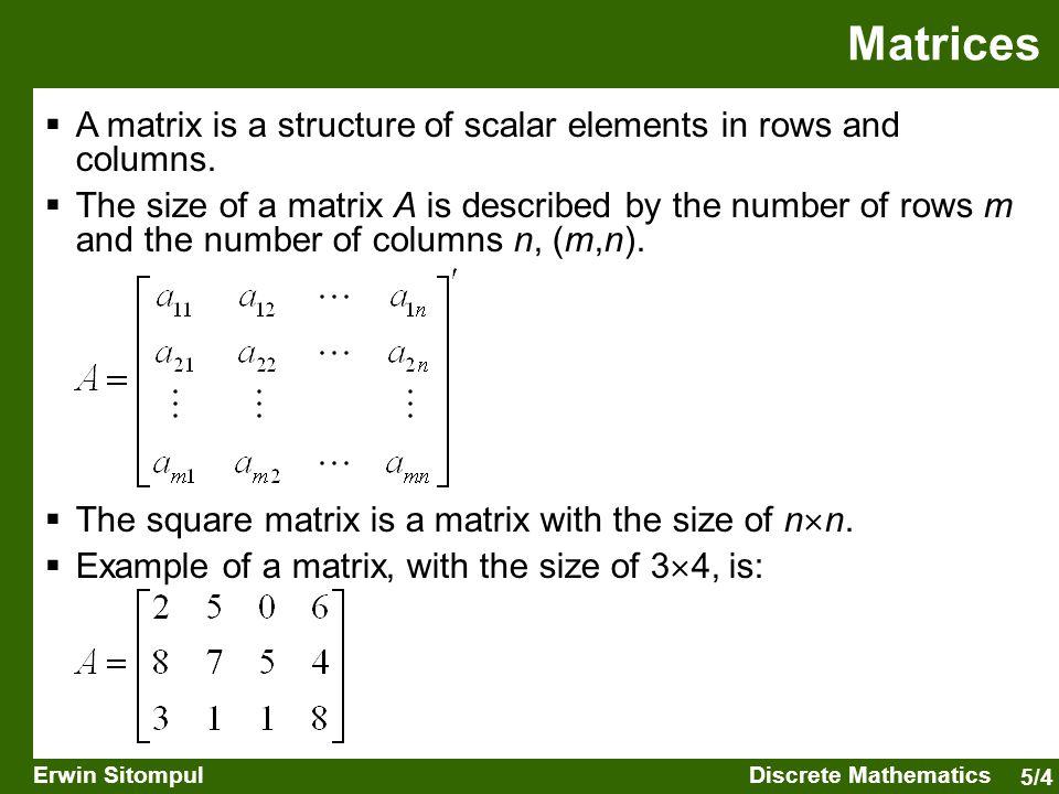 5/5 Erwin SitompulDiscrete Mathematics  The symmetric matrix is a matrix with a ij = a ji for each i and j.