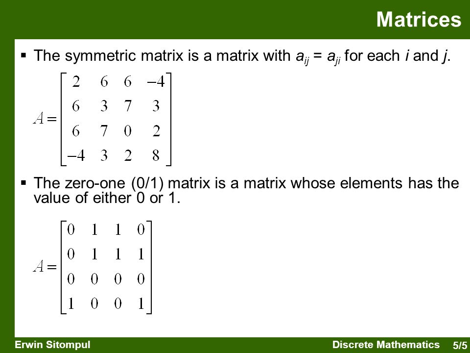 5/16 Erwin SitompulDiscrete Mathematics Binary Relations  The relations on one set is also called binary relation.