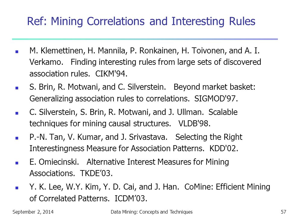 September 2, 2014Data Mining: Concepts and Techniques57 Ref: Mining Correlations and Interesting Rules M.