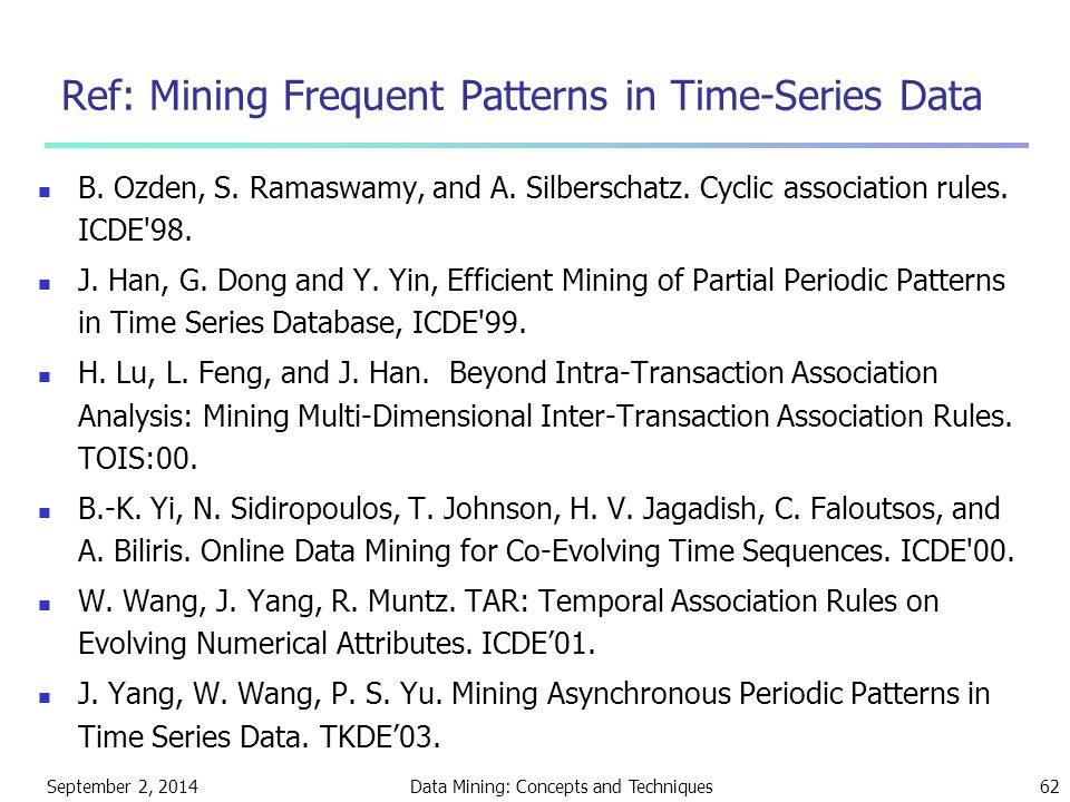 September 2, 2014Data Mining: Concepts and Techniques62 Ref: Mining Frequent Patterns in Time-Series Data B.