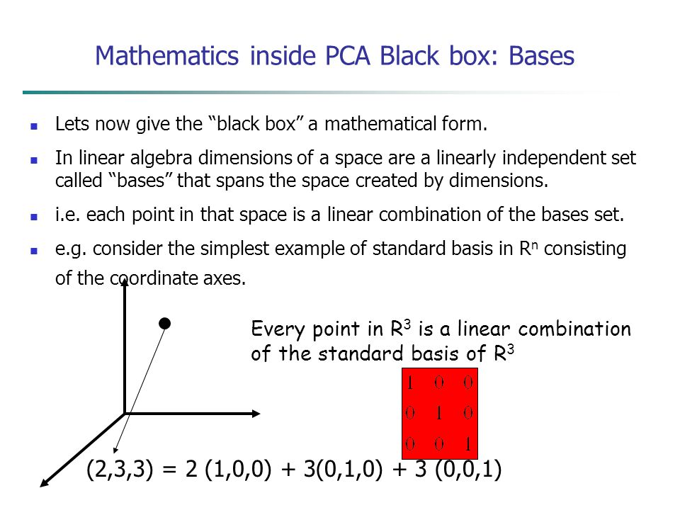 "Lets now give the ""black box"" a mathematical form. In linear algebra dimensions of a space are a linearly independent set called ""bases"" that spans th"