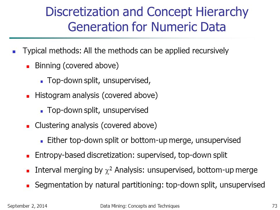 September 2, 2014Data Mining: Concepts and Techniques73 Discretization and Concept Hierarchy Generation for Numeric Data Typical methods: All the meth