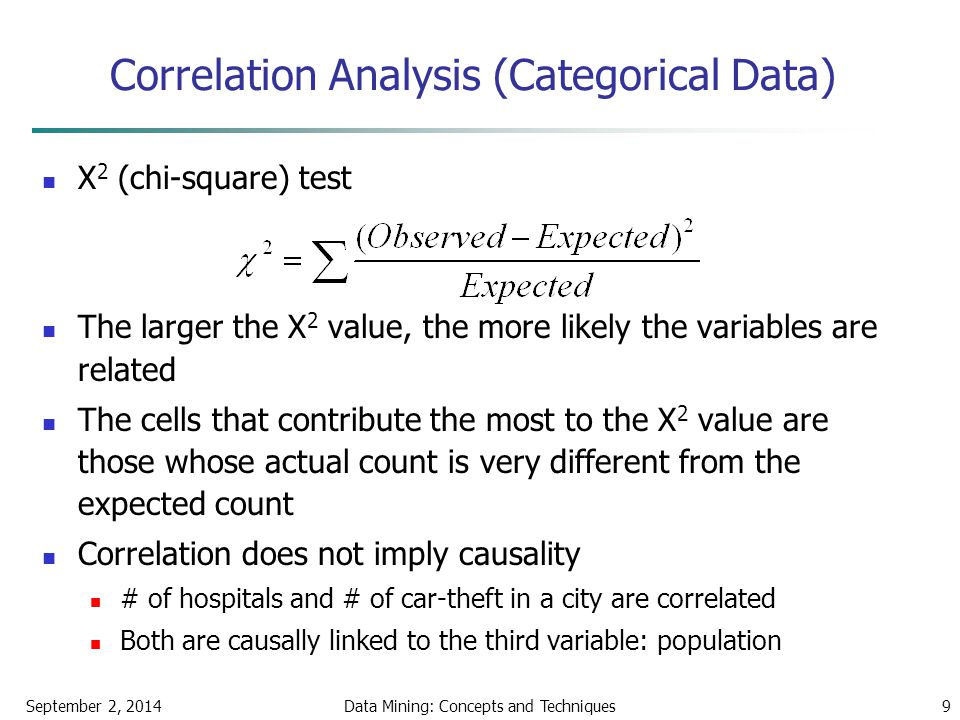 September 2, 2014Data Mining: Concepts and Techniques9 Correlation Analysis (Categorical Data) Χ 2 (chi-square) test The larger the Χ 2 value, the mor