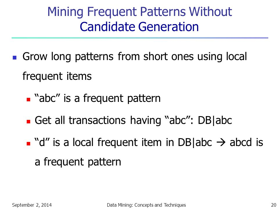 September 2, 2014Data Mining: Concepts and Techniques20 Mining Frequent Patterns Without Candidate Generation Grow long patterns from short ones using