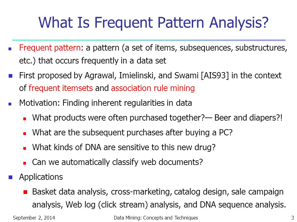 September 2, 2014Data Mining: Concepts and Techniques3 What Is Frequent Pattern Analysis? Frequent pattern: a pattern (a set of items, subsequences, s