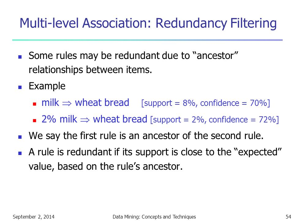 "September 2, 2014Data Mining: Concepts and Techniques54 Multi-level Association: Redundancy Filtering Some rules may be redundant due to ""ancestor"" re"