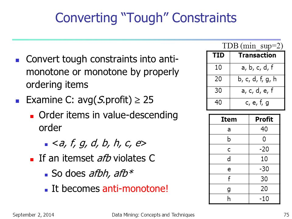 "September 2, 2014Data Mining: Concepts and Techniques75 Converting ""Tough"" Constraints Convert tough constraints into anti- monotone or monotone by pr"