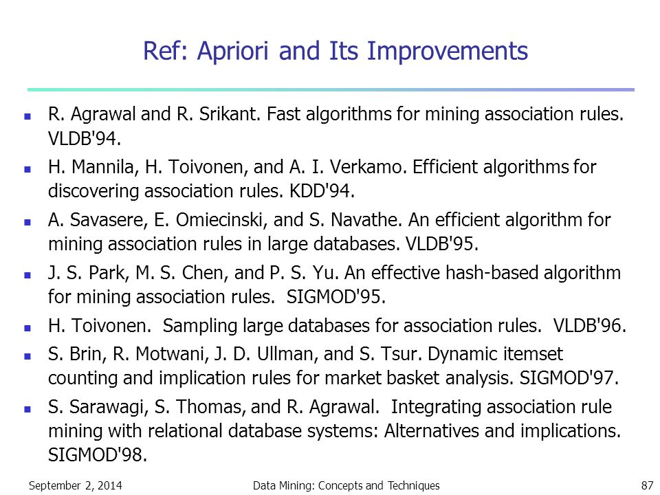 September 2, 2014Data Mining: Concepts and Techniques87 Ref: Apriori and Its Improvements R. Agrawal and R. Srikant. Fast algorithms for mining associ