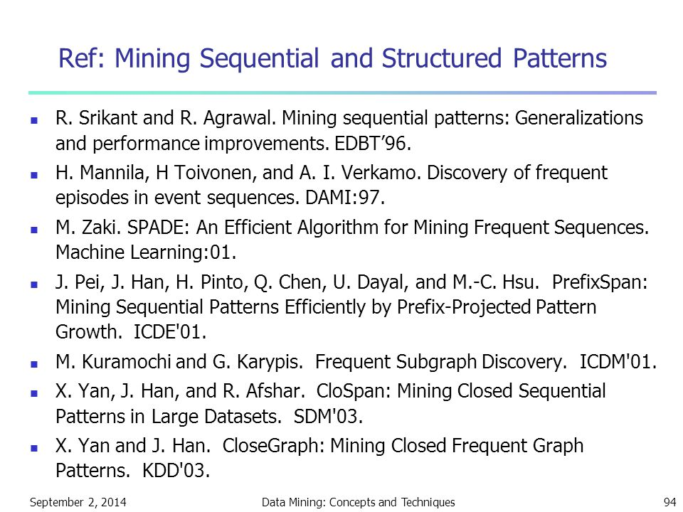 September 2, 2014Data Mining: Concepts and Techniques94 Ref: Mining Sequential and Structured Patterns R. Srikant and R. Agrawal. Mining sequential pa