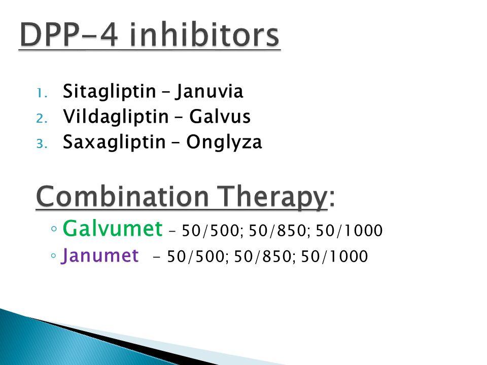 1. Sitagliptin – Januvia 2. Vildagliptin – Galvus 3. Saxagliptin – Onglyza Combination Therapy: ◦ Galvumet – 50/500; 50/850; 50/1000 ◦ Janumet - 50/50