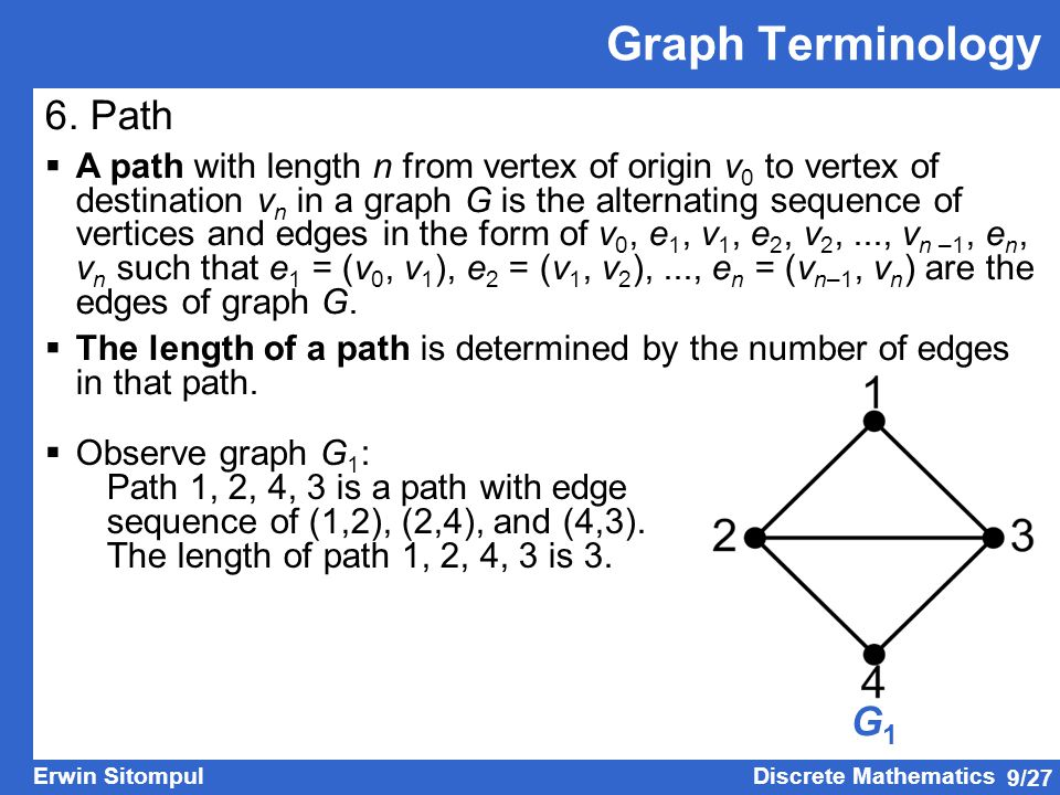 9/27 Erwin SitompulDiscrete Mathematics G1G1 Graph Terminology 6. Path  A path with length n from vertex of origin v 0 to vertex of destination v n i
