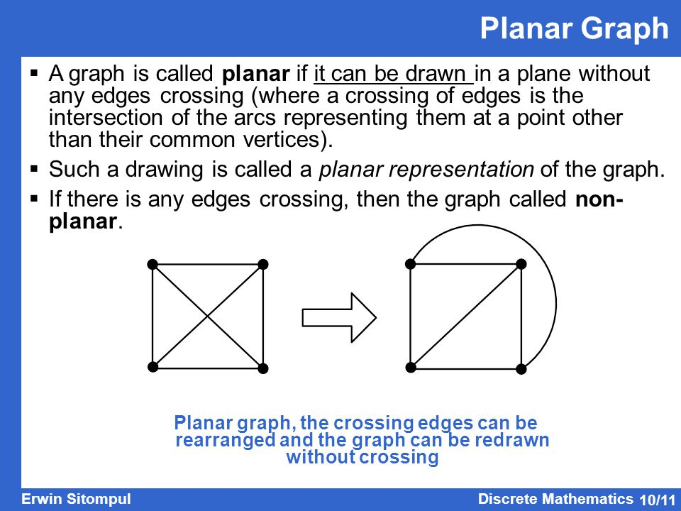 10/11 Erwin SitompulDiscrete Mathematics  A graph is called planar if it can be drawn in a plane without any edges crossing (where a crossing of edges is the intersection of the arcs representing them at a point other than their common vertices).