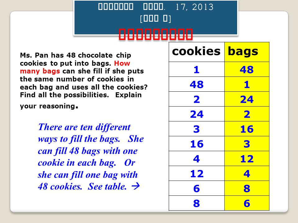 Tuesday Sept. 17, 2013 [ Day F ] ACTIVATOR Ms. Pan has 48 chocolate chip cookies to put into bags. How many bags can she fill if she puts the same num
