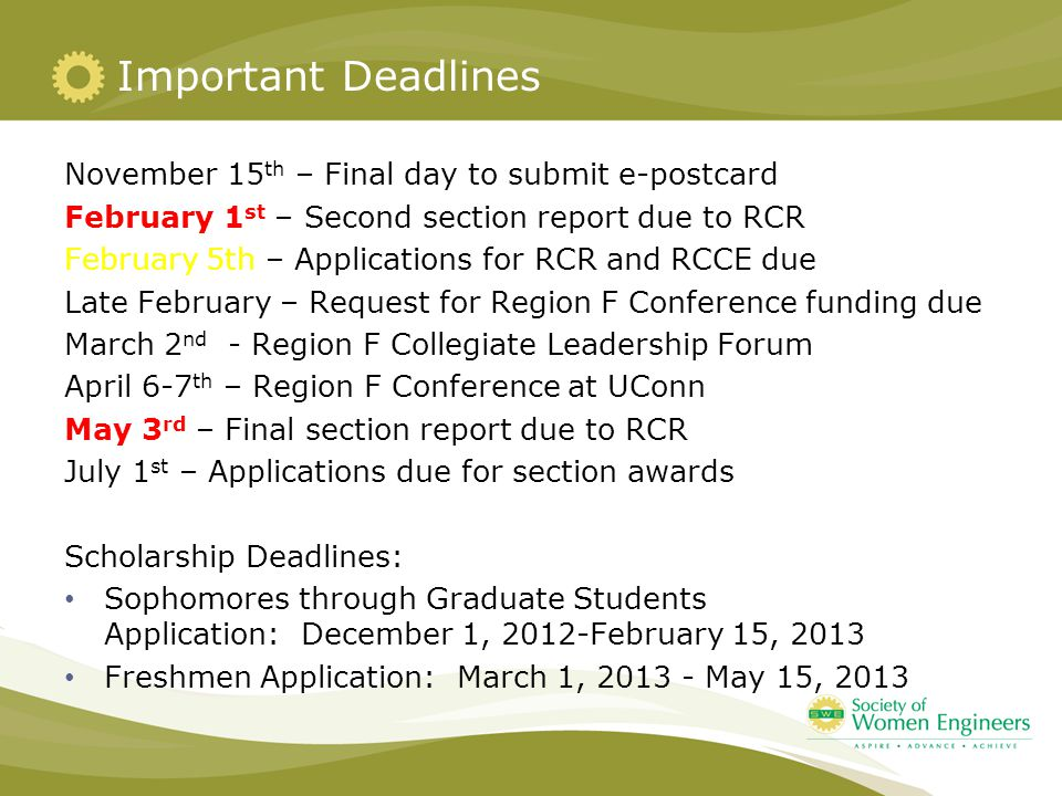 Important Deadlines November 15 th – Final day to submit e-postcard February 1 st – Second section report due to RCR February 5th – Applications for R