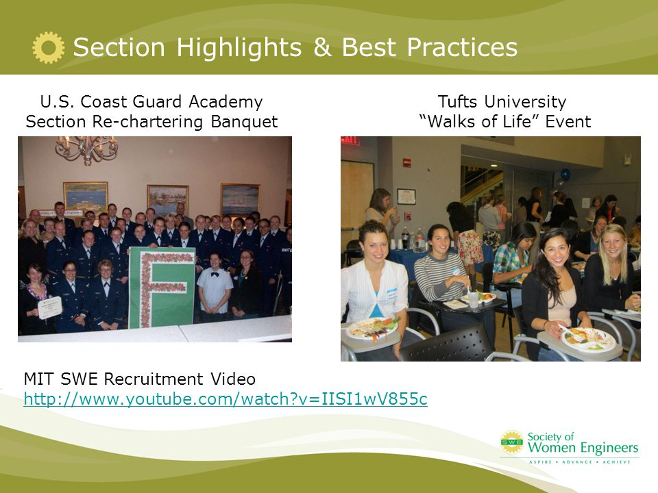 Section Highlights & Best Practices U.S. Coast Guard Academy Section Re-chartering Banquet MIT SWE Recruitment Video http://www.youtube.com/watch?v=II