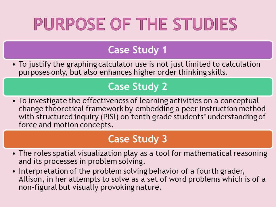 Case Study 1 To justify the graphing calculator use is not just limited to calculation purposes only, but also enhances higher order thinking skills.