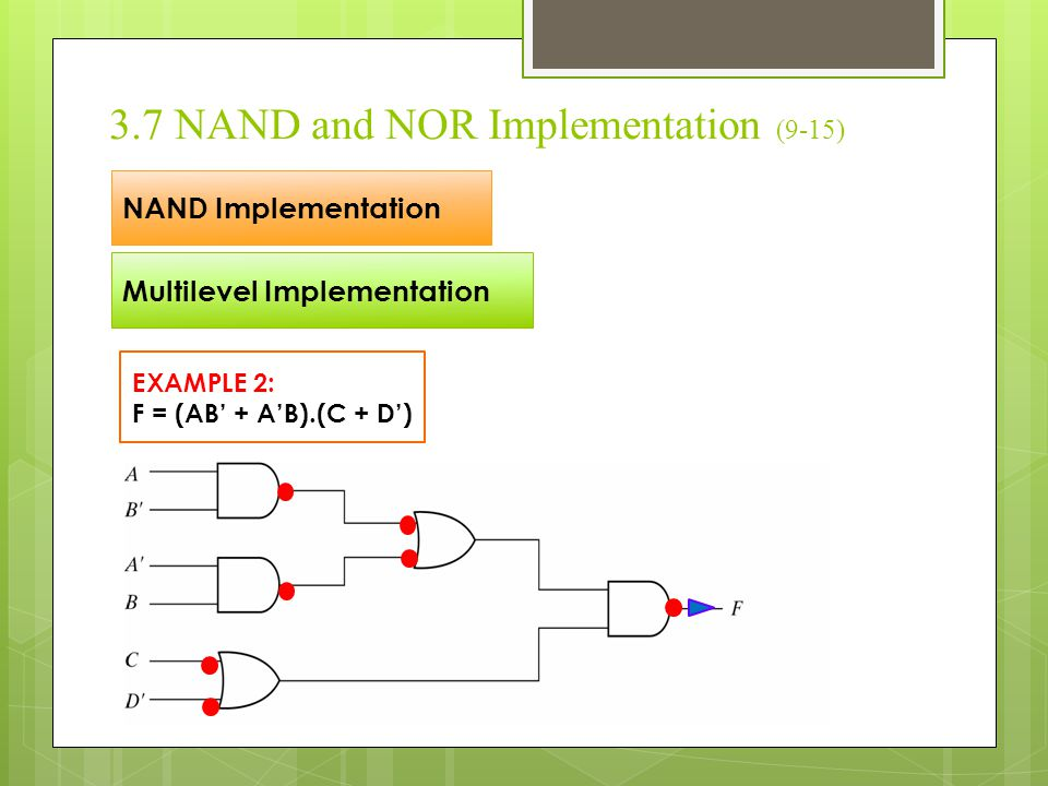 3.7 NAND and NOR Implementation (9-15) NAND Implementation Multilevel Implementation EXAMPLE 2: F = (AB' + A'B).(C + D')