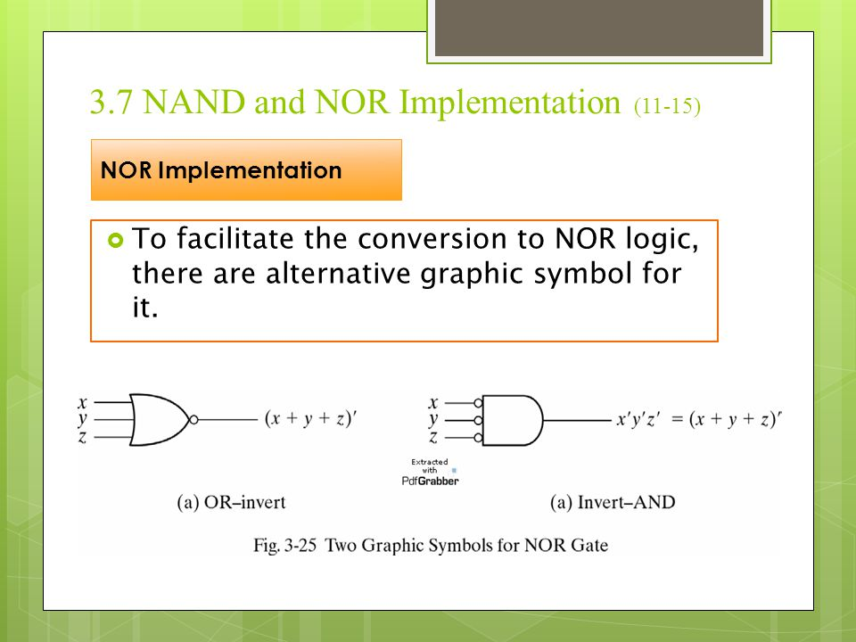 3.7 NAND and NOR Implementation (11-15)  To facilitate the conversion to NOR logic, there are alternative graphic symbol for it. NOR Implementation