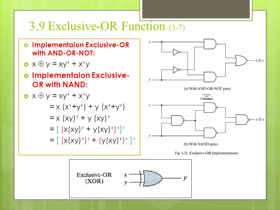 3.9 Exclusive-OR Function (3-7)  Implementaion Exclusive-OR with AND-OR-NOT:  x  y = xy' + x'y  Implementaion Exclusive- OR with NAND:  x  y =