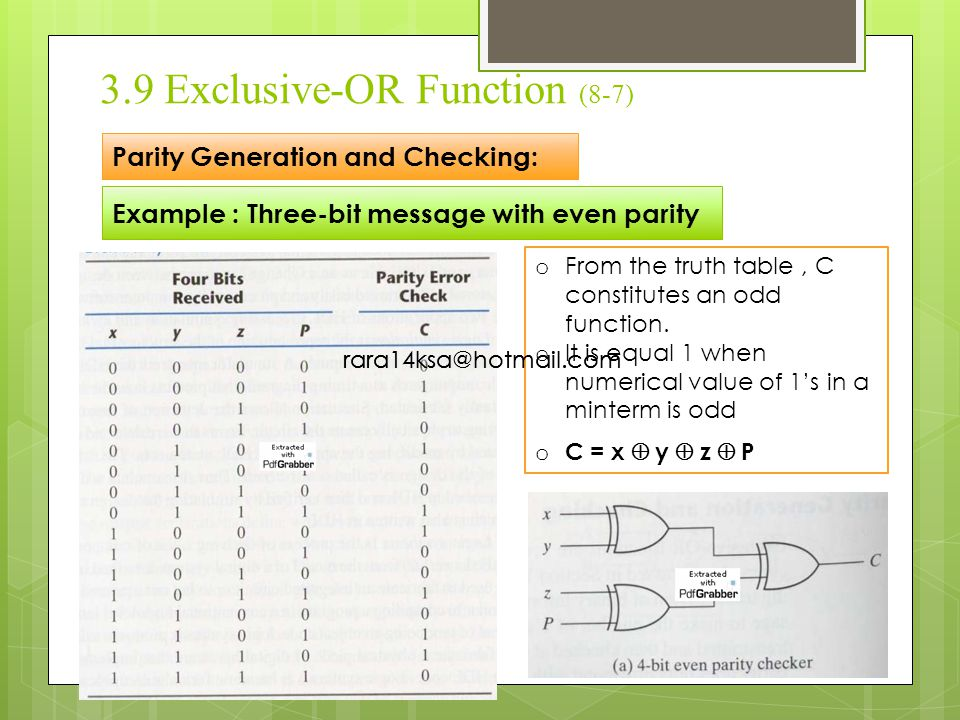 3.9 Exclusive-OR Function (8-7) Parity Generation and Checking: Example : Three-bit message with even parity o From the truth table, C constitutes an