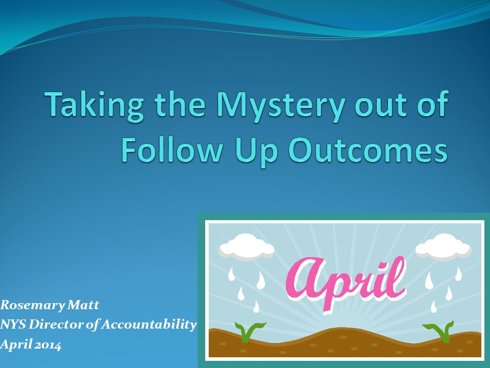 Rosemary Matt NYS Director of Accountability April 2014
