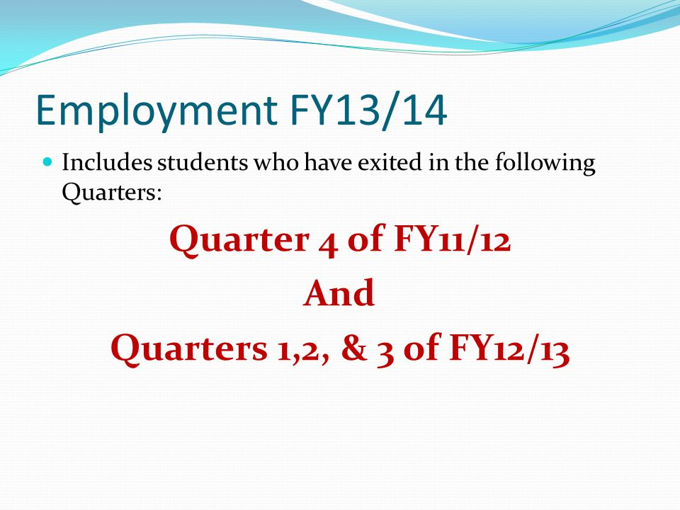 Employment FY13/14 Includes students who have exited in the following Quarters: Quarter 4 of FY11/12 And Quarters 1,2, & 3 of FY12/13