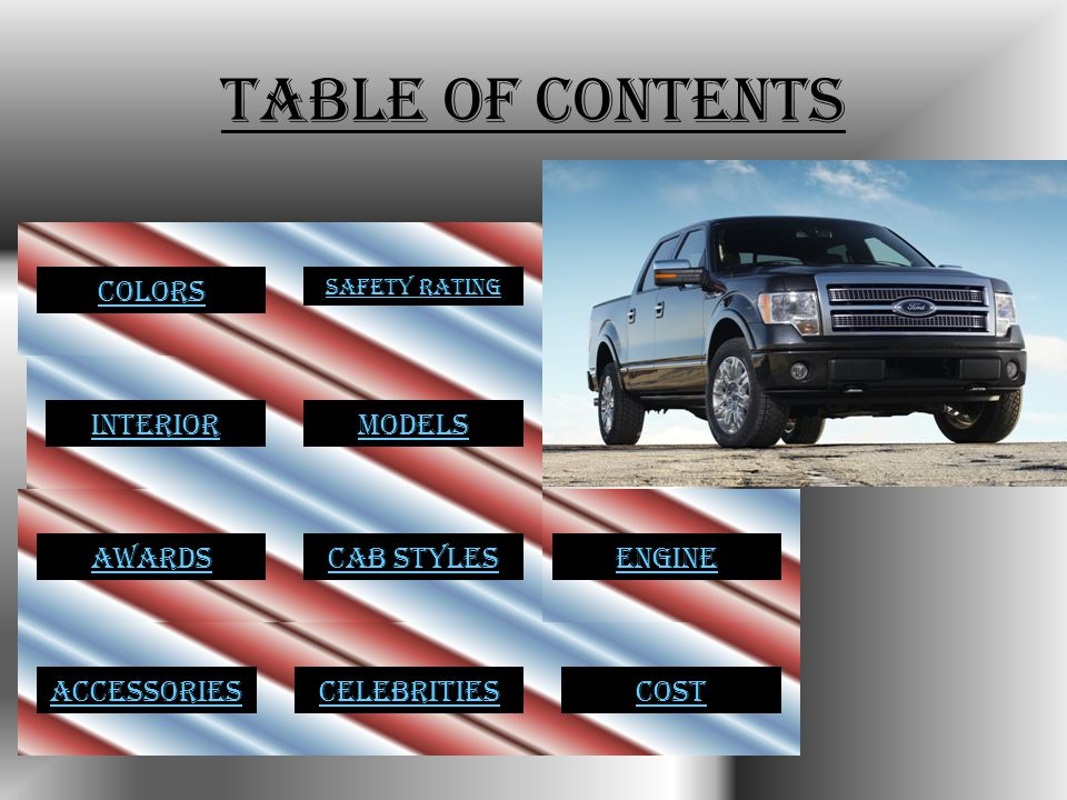 Table of Contents ModelsColorsInterior Safety Rating ENGINECab StylesAwardsCelebritiesAccessoriesCost