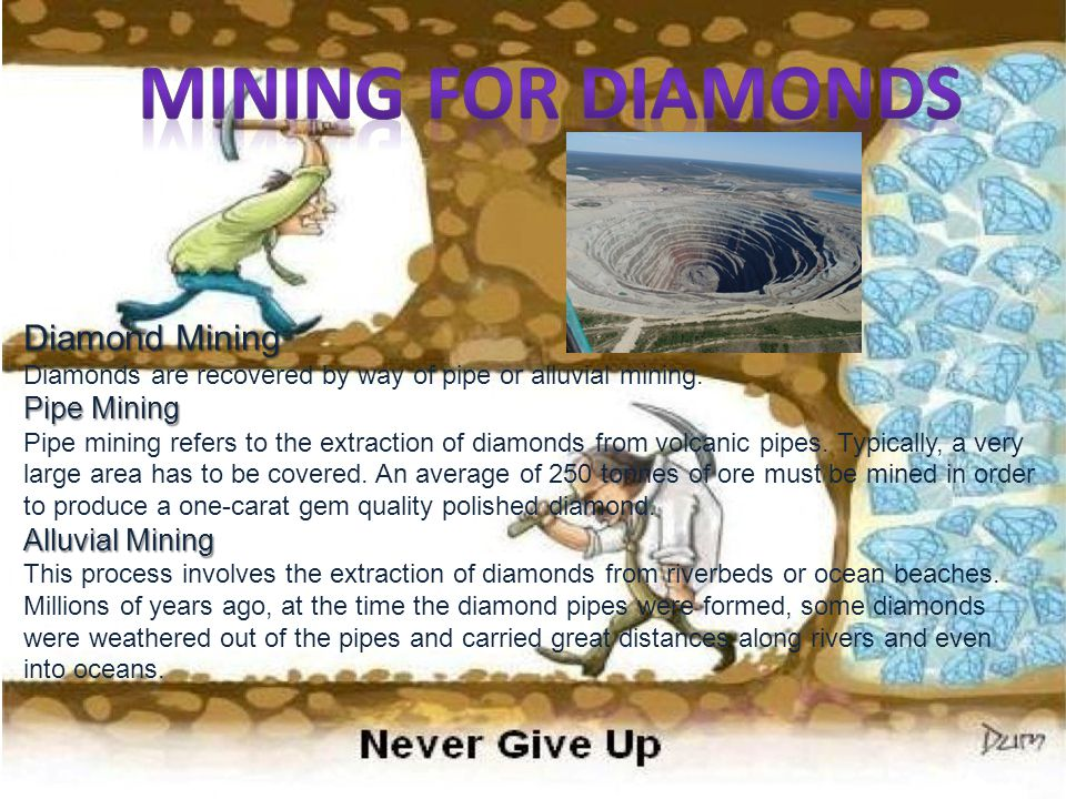 Diamond Mining Diamond Mining Diamonds are recovered by way of pipe or alluvial mining. Pipe Mining Pipe Mining Pipe mining refers to the extraction o