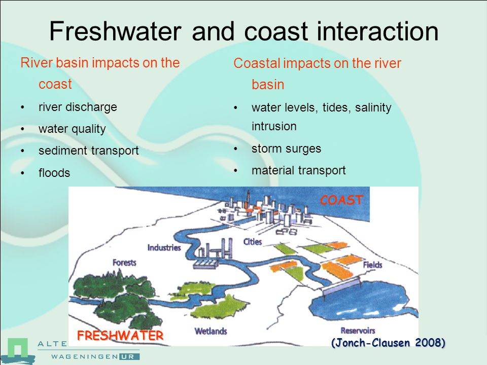 Freshwater and coast interaction River basin impacts on the coast river discharge water quality sediment transport floods COAST FRESHWATER Coastal impacts on the river basin water levels, tides, salinity intrusion storm surges material transport (Jonch-Clausen 2008)