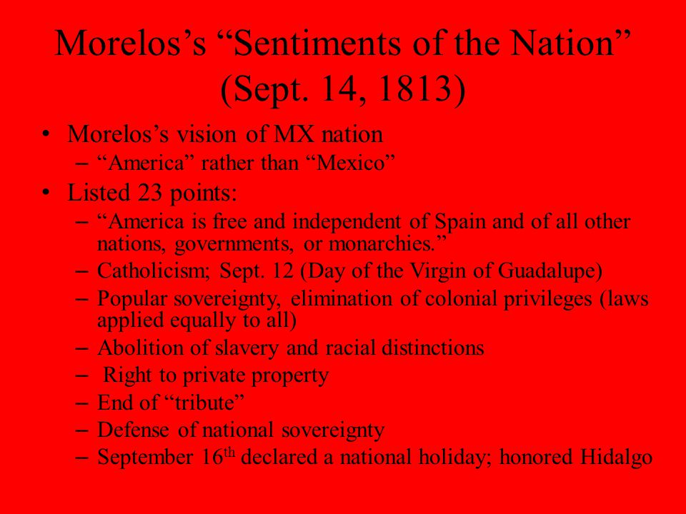Morelos's Sentiments of the Nation (Sept.