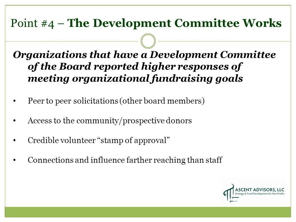 Point #4 – The Development Committee Works Organizations that have a Development Committee of the Board reported higher responses of meeting organizational fundraising goals Peer to peer solicitations (other board members) Access to the community/prospective donors Credible volunteer stamp of approval Connections and influence farther reaching than staff