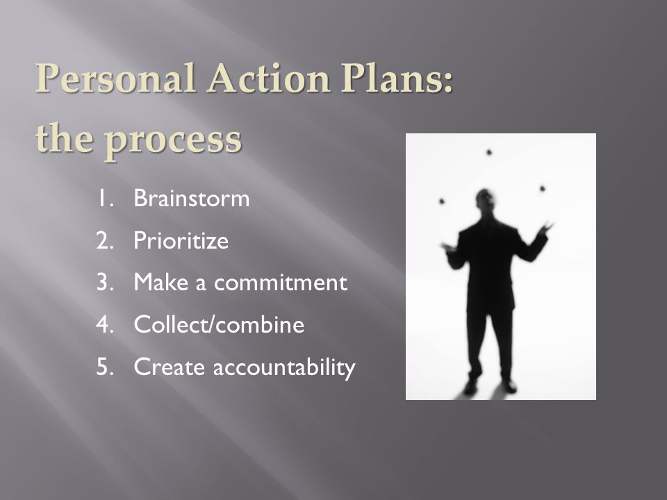 1.Brainstorm 2.Prioritize 3.Make a commitment 4.Collect/combine 5.Create accountability Personal Action Plans: the process
