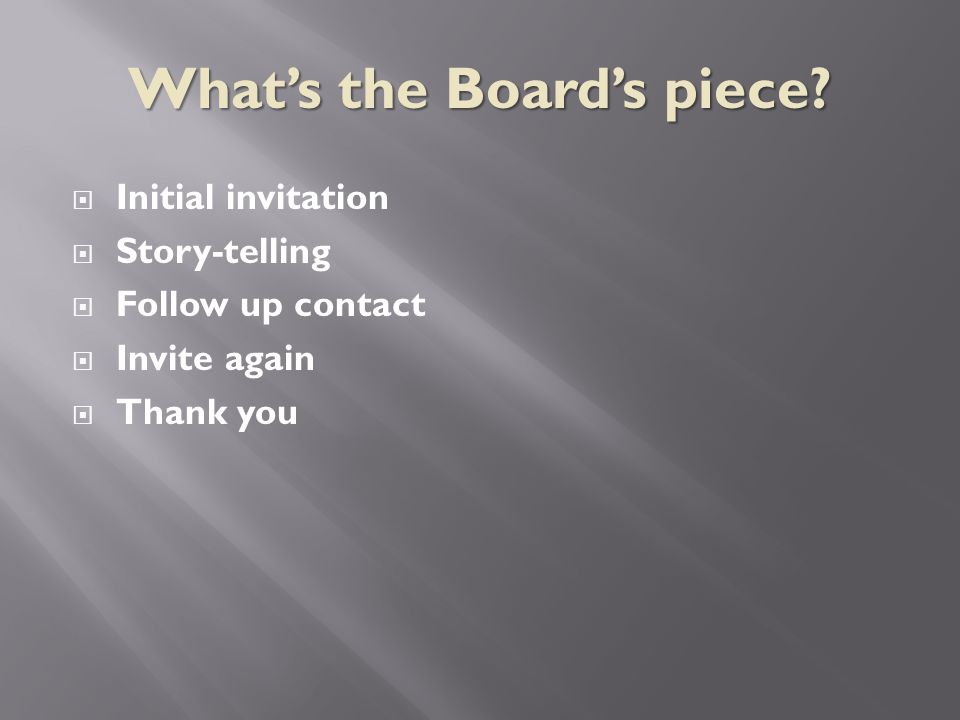  Initial invitation  Story-telling  Follow up contact  Invite again  Thank you What's the Board's piece