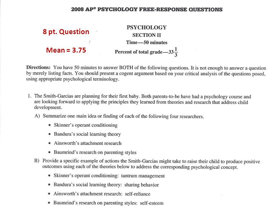 8 pt. Question Mean = 3.75
