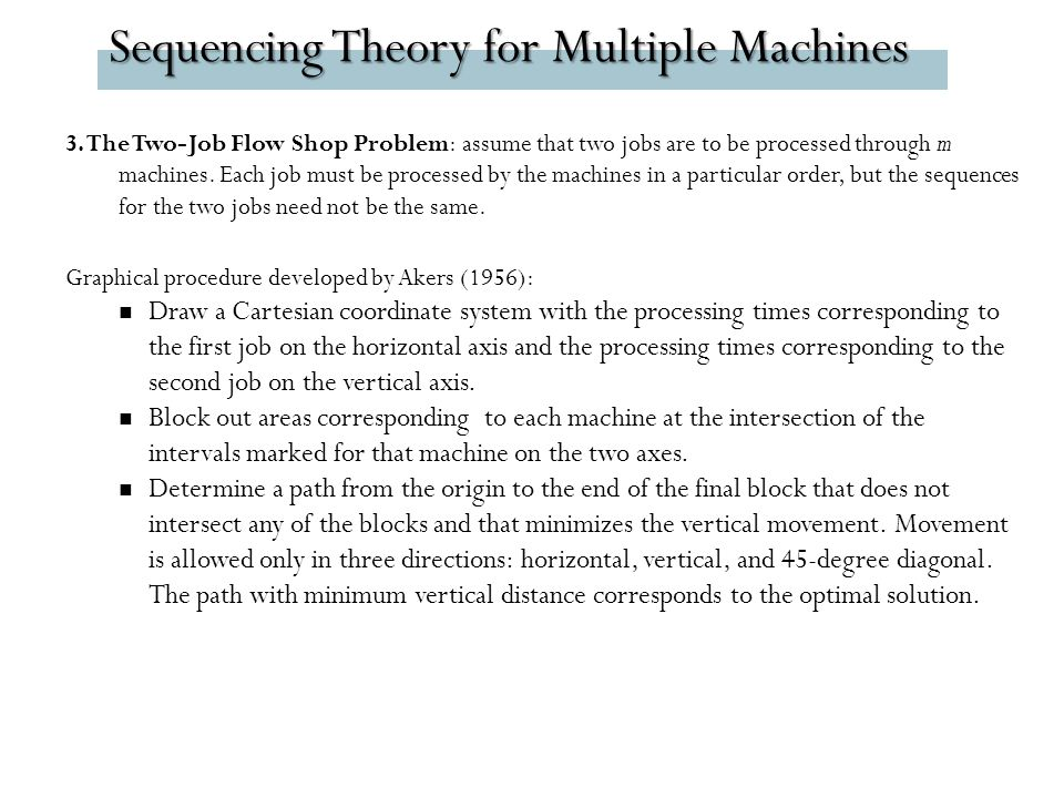 Sequencing Theory for Multiple Machines 3.