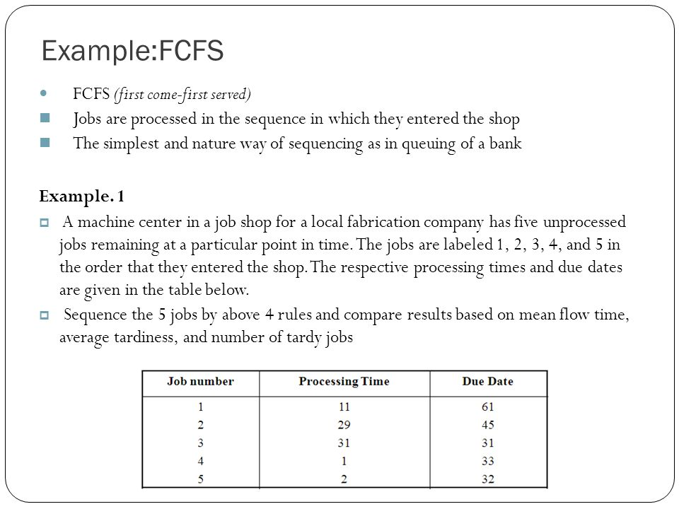 Example:FCFS FCFS (first come-first served) Jobs are processed in the sequence in which they entered the shop The simplest and nature way of sequencing as in queuing of a bank Example.