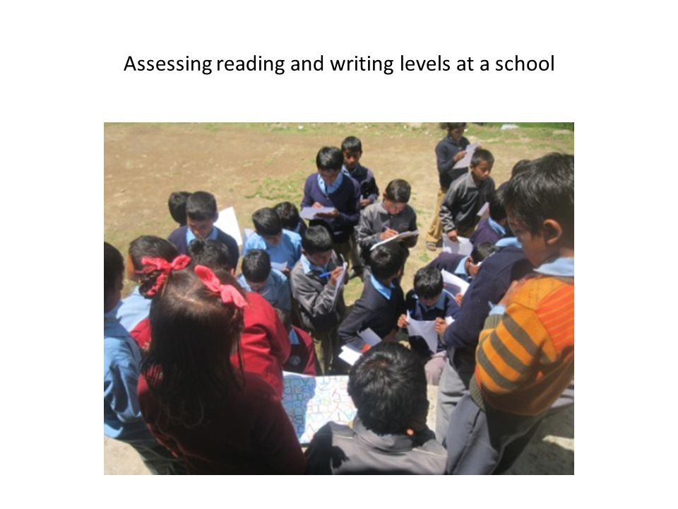 Assessing reading and writing levels at a school