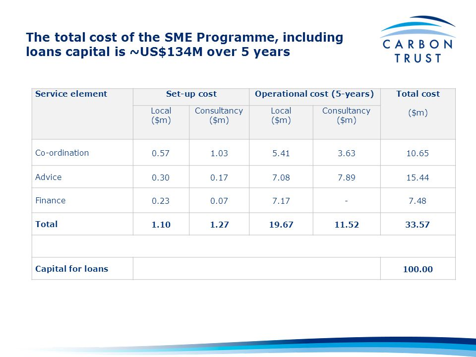 The total cost of the SME Programme, including loans capital is ~US$134M over 5 years Service elementSet-up costOperational cost (5-years)Total cost ($m) Local ($m) Consultancy ($m) Local ($m) Consultancy ($m) Co-ordination0.571.035.413.6310.65 Advice0.300.177.087.8915.44 Finance0.230.077.17-7.48 Total1.101.2719.6711.5233.57 Capital for loans100.00
