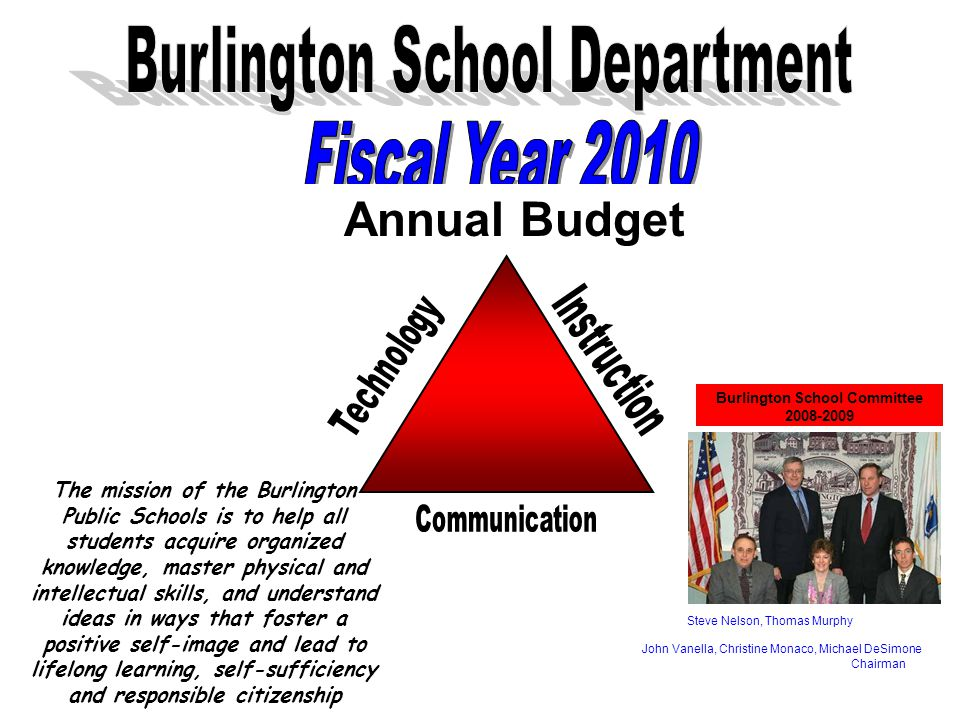 Annual Budget Burlington School Committee Steve Nelson, Thomas Murphy John Vanella, Christine Monaco, Michael DeSimone Chairman The mission of the Burlington Public Schools is to help all students acquire organized knowledge, master physical and intellectual skills, and understand ideas in ways that foster a positive self-image and lead to lifelong learning, self-sufficiency and responsible citizenship