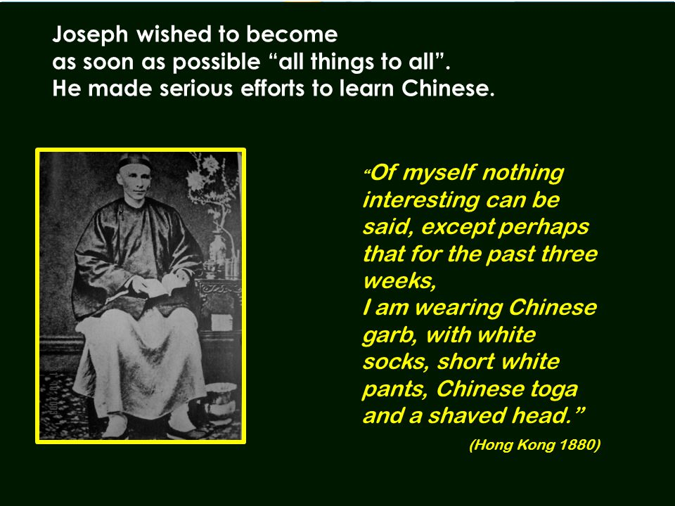 """ Of myself nothing interesting can be said, except perhaps that for the past three weeks, I am wearing Chinese garb, with white socks, short white pa"