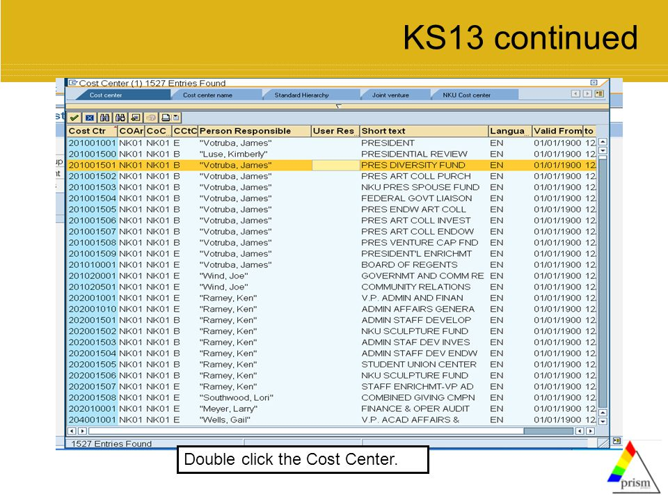 Double click the Cost Center. KS13 continued