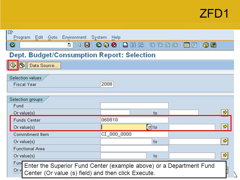 ZFD1 Enter the Superior Fund Center (example above) or a Department Fund Center (Or value (s) field) and then click Execute.