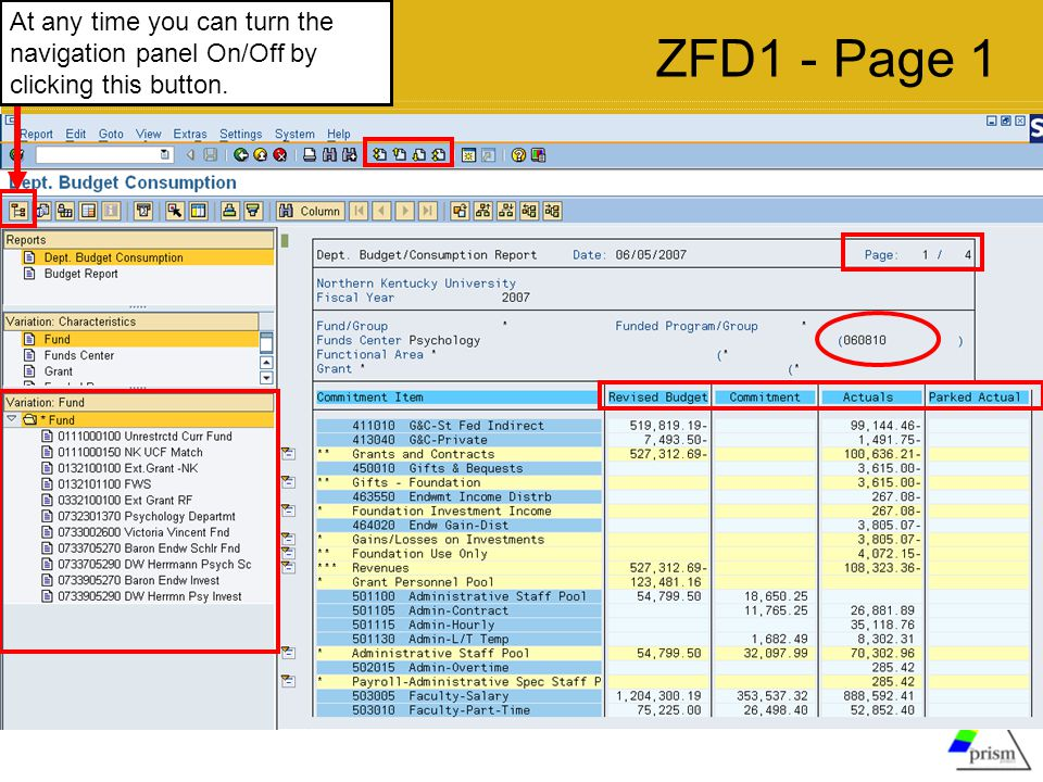 ZFD1 - Page 1 At any time you can turn the navigation panel On/Off by clicking this button.
